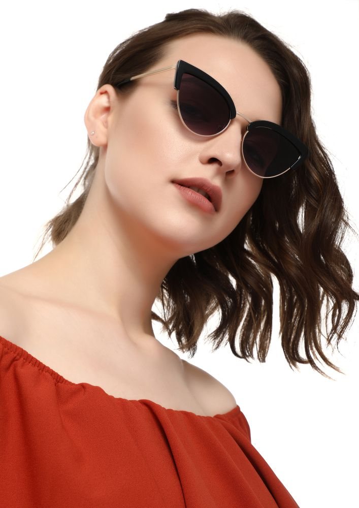 LOVE TO WINK BLACK CATEYE SUNGLASSES
