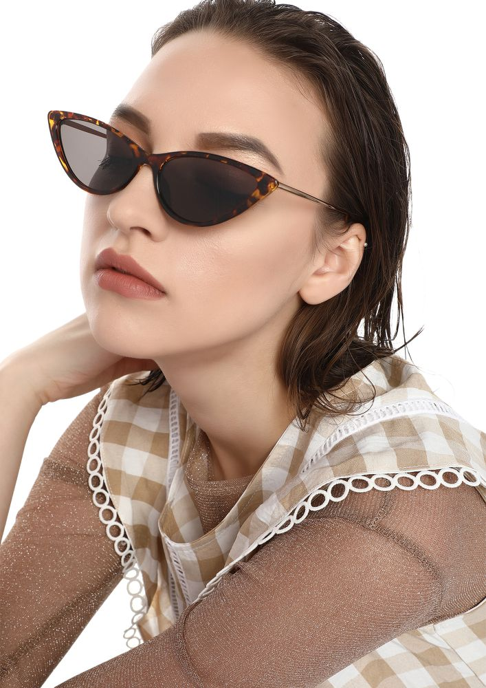 PLAY SAFE BROWN CATEYE SUNGLASSES