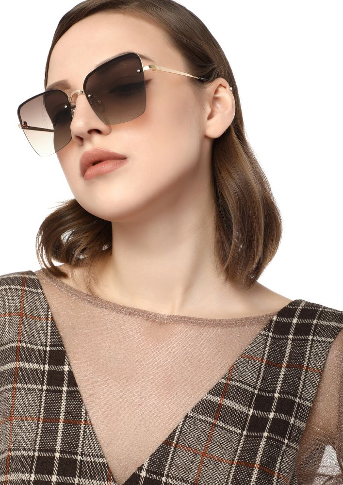 NO FILTER NEEDED BROWN SQUARE SUNGLASSES