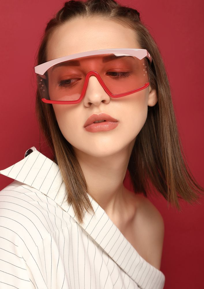 FUTURE IS HERE PINK RETRO SUNGLASSES