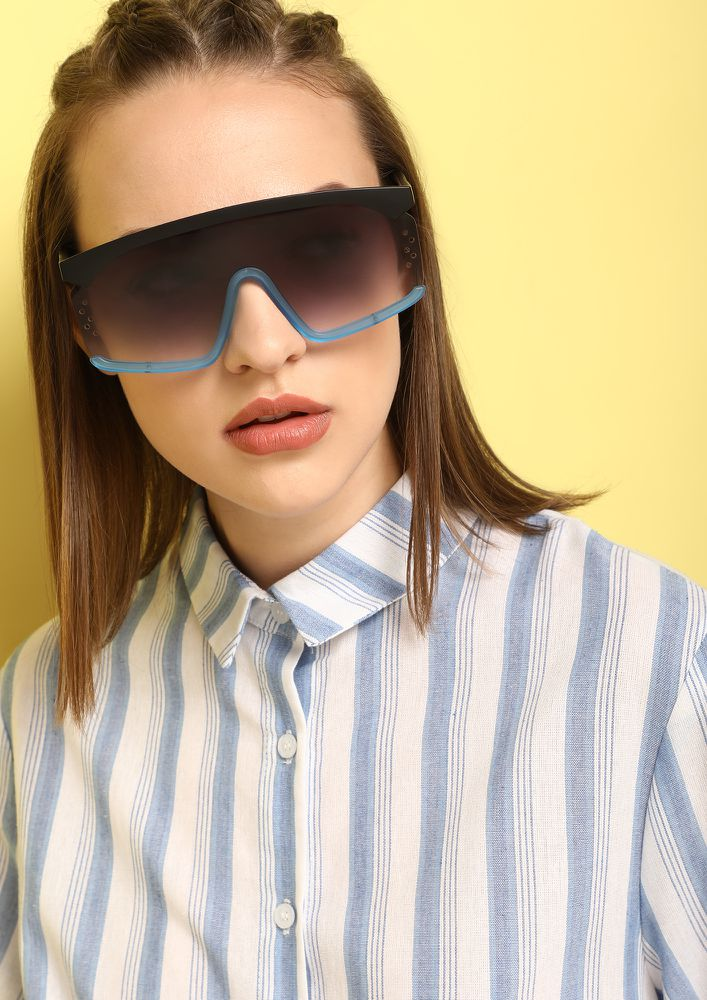 BACK IN BUSINESS BLUE RETRO SUNGLASSES