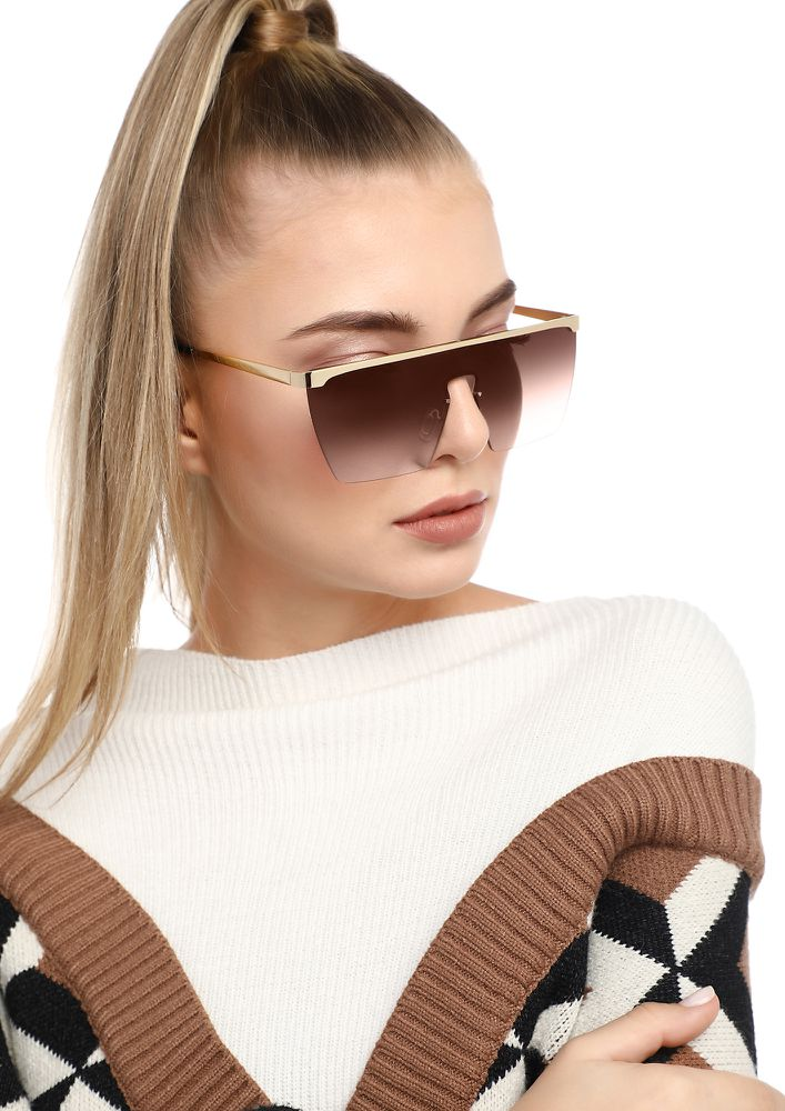 DID IT FOR YOU TEA BROWN SQUARE SUNGLASSES