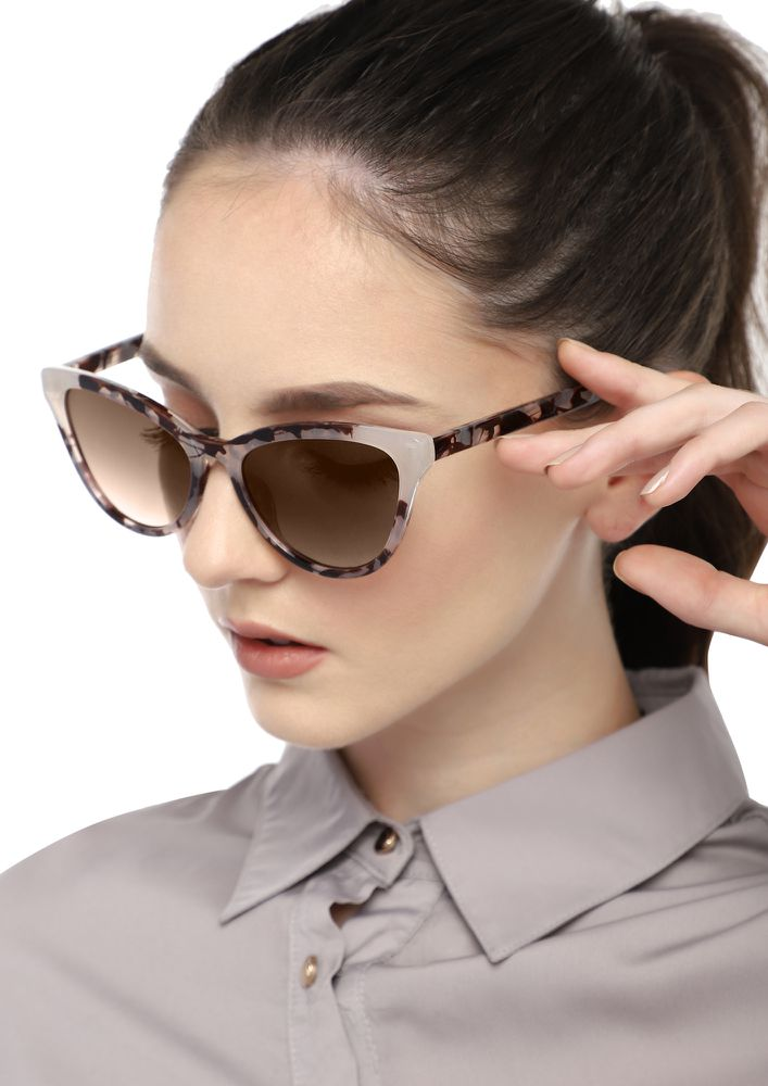ALWAYS A CHARMER GREY AMBER CATEYE SUNGLASSES