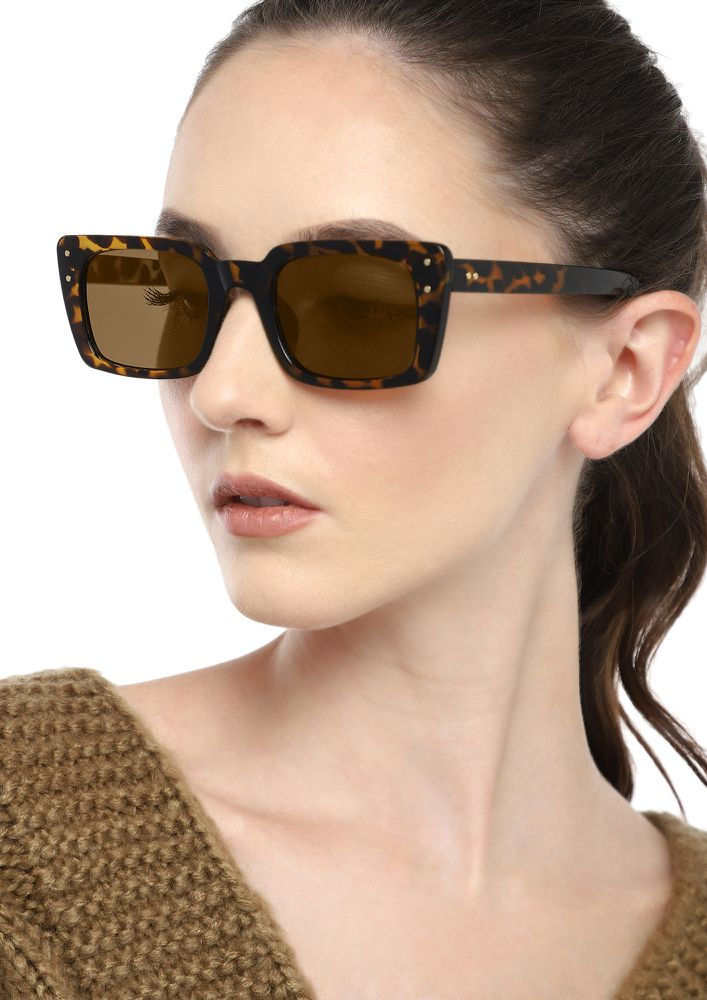 TIME WILL NEVER STOP AMBER SQUARE SUNGLASSES