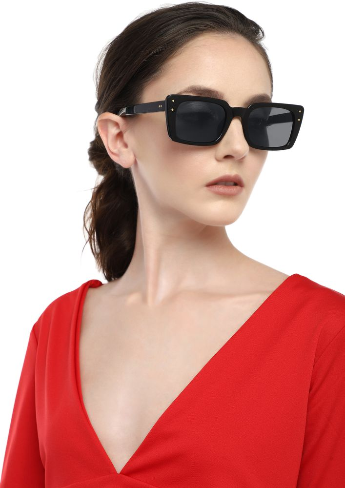 TIME WILL NEVER STOP BLACK SQUARE SUNGLASSES