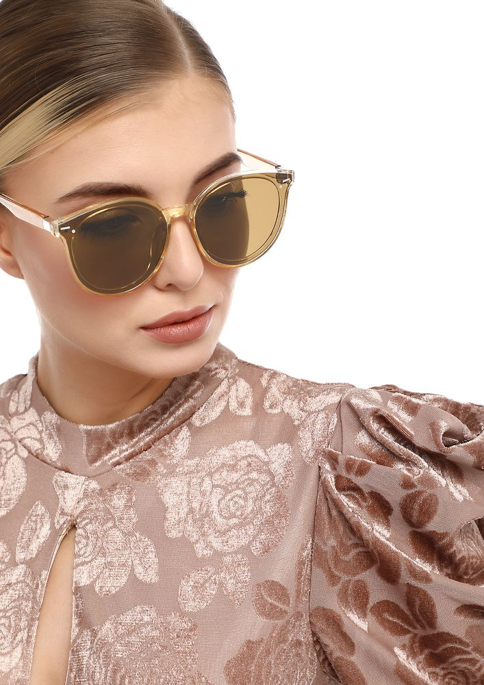 VINTAGE COOL TEA BROWN CATEYE SUNGLASSES