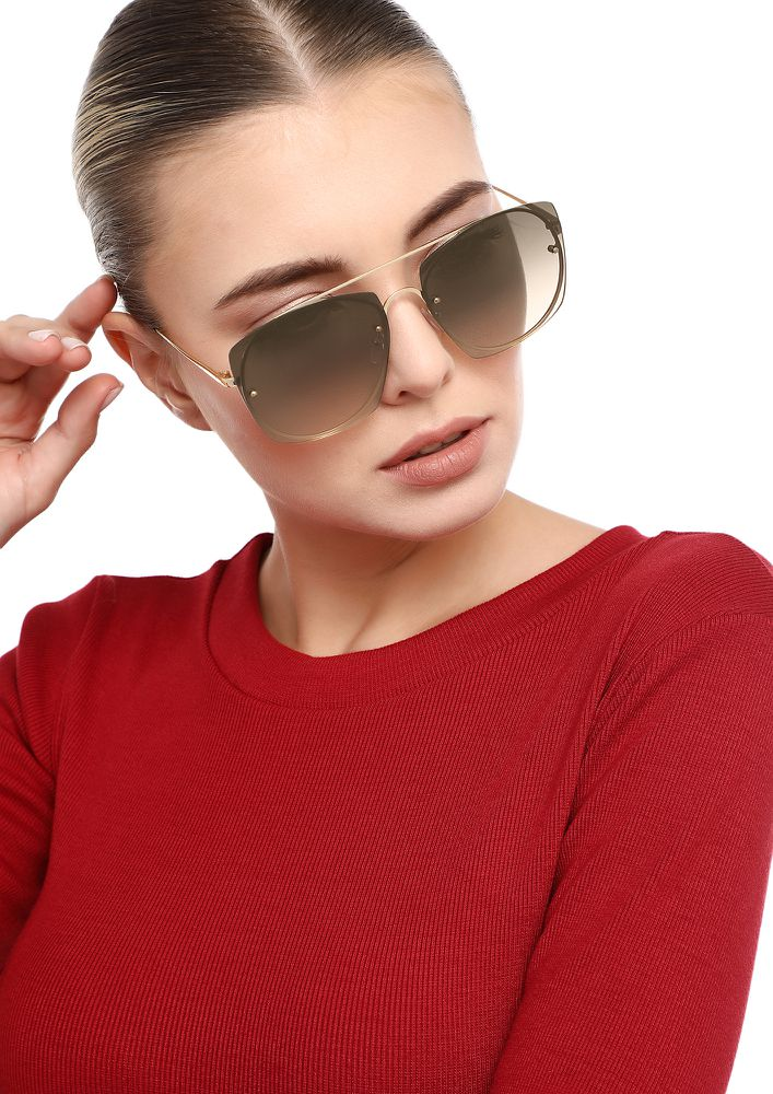 EASIER TO PRETEND TAUPE BROWN SQUARE SUNGLASSES