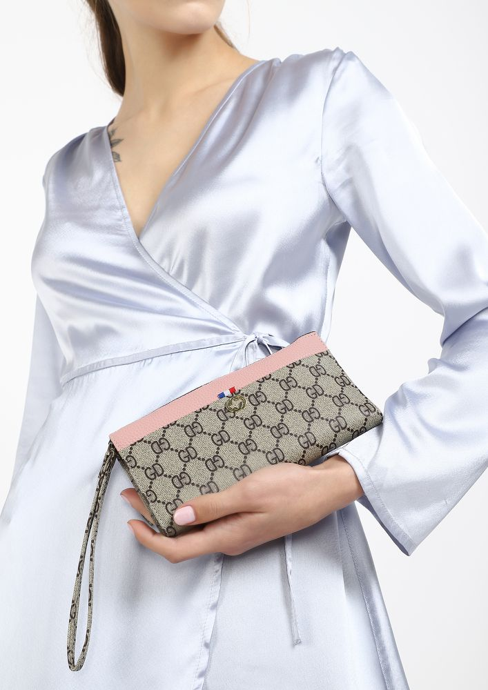 ALL IN ONE PLACE PINK BEIGE WALLET