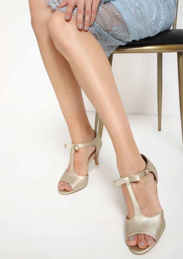 WAY TO BOW GOLDEN HEELED SANDALS