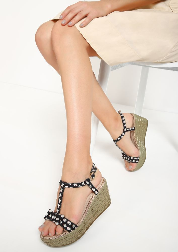 BOW IN SQUARES BLACK WEDGES