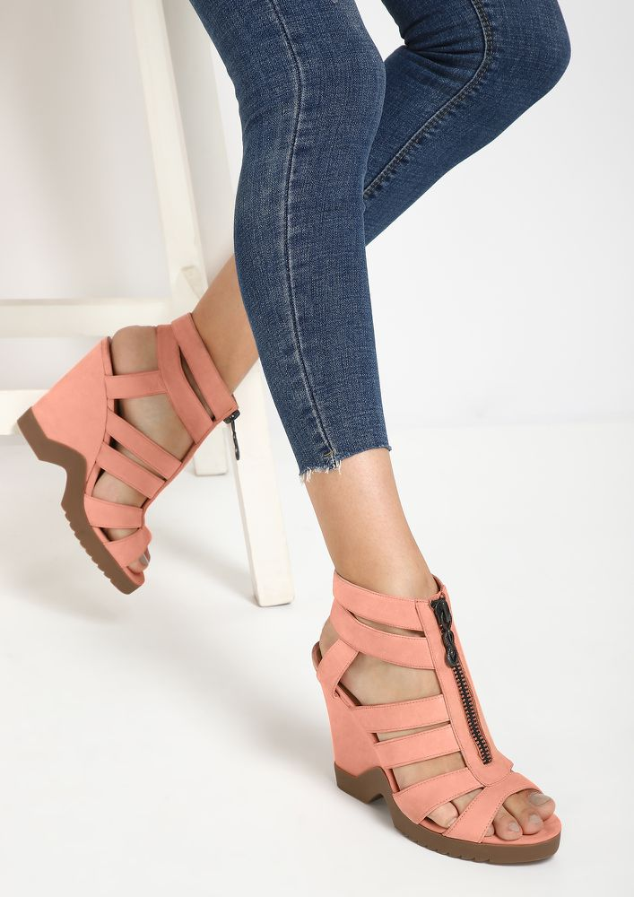 LET YOUR LOVE GROW PINK HEELED SANDALS
