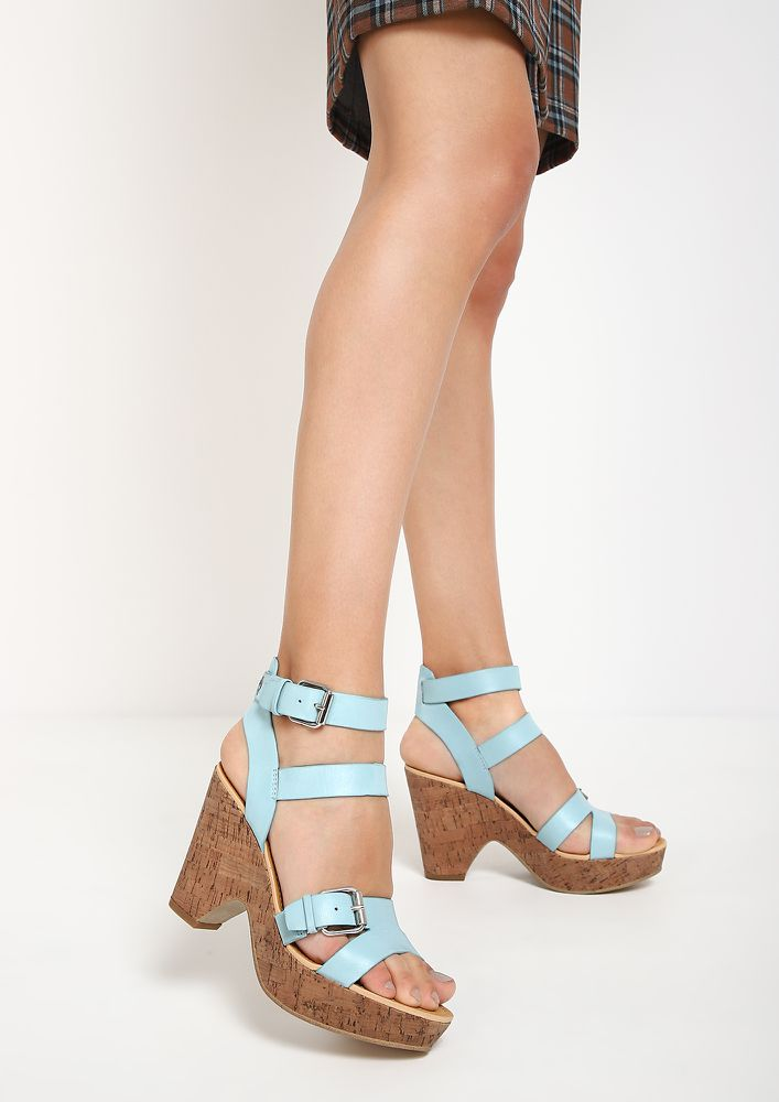 EASY AS IT IS BLUE HEELED SANDALS