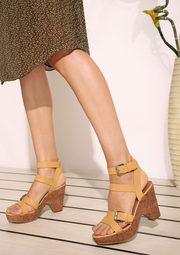 EASY AS IT IS YELLOW HEELED SANDALS