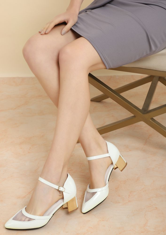 MY HAPPY SOLEMATE WHITE HEELED SHOES
