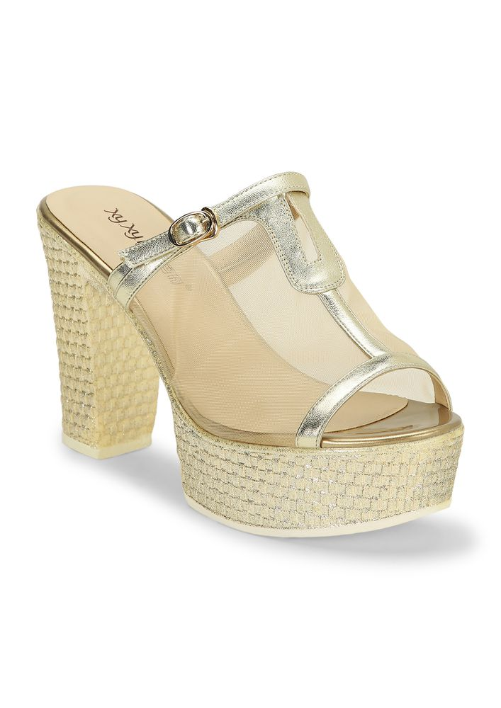ONLY IN MY SANITY GOLDEN HEELED SANDALS