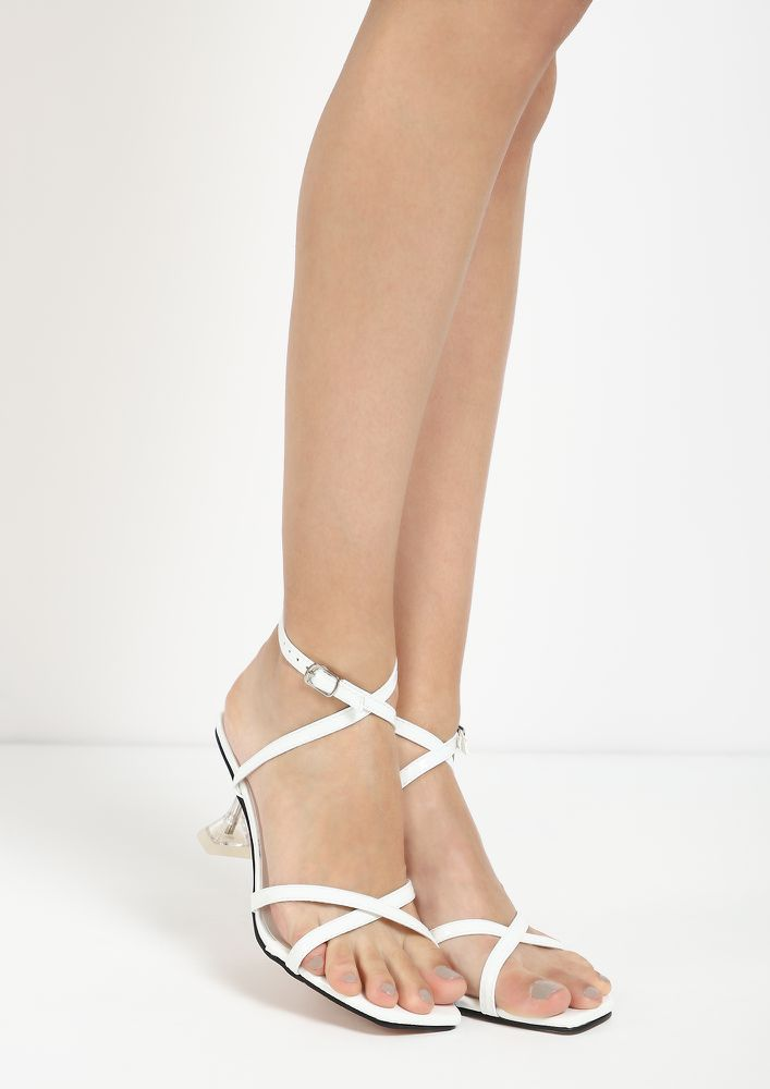 STRAPPY GO LUCKY WHITE HOURGLASS HEELED SANDALS