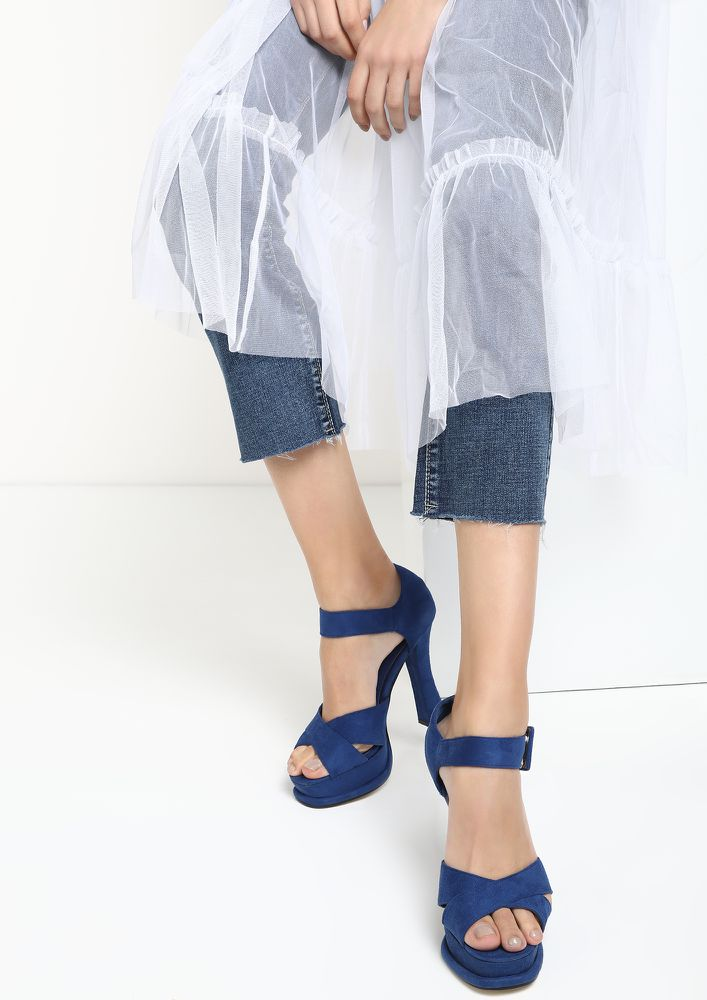 NOTHING COMES EASY BLUE HEELED SANDALS