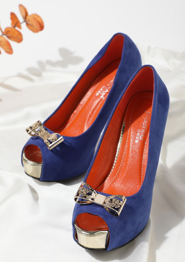Get Your Bow On BLUE Peep-Toe Pumps