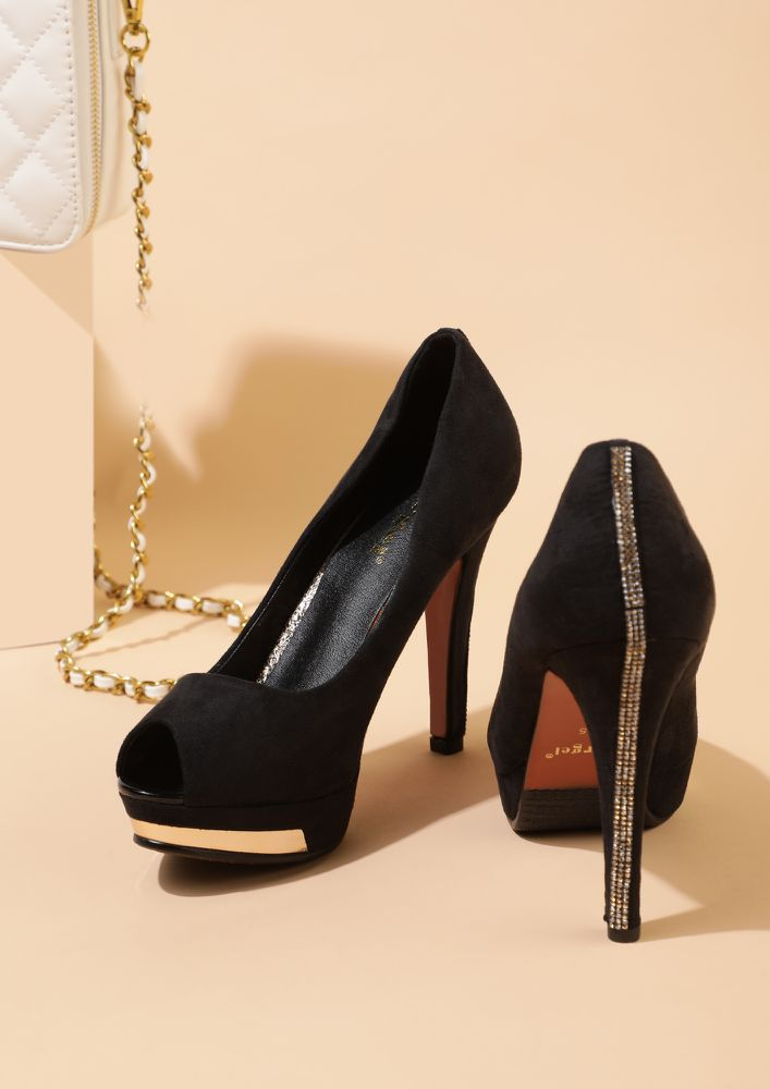 A CHIC KEEPER BLACK PEEP-TOE PUMPS