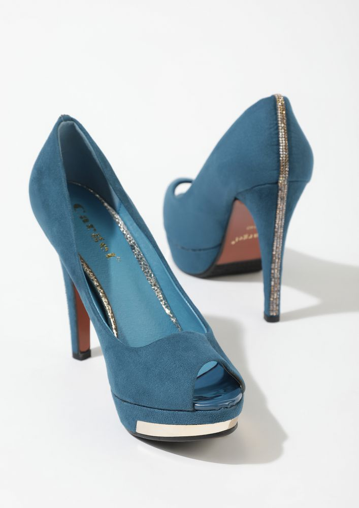 A CHIC KEEPER BLUE PEEP-TOE PUMPS
