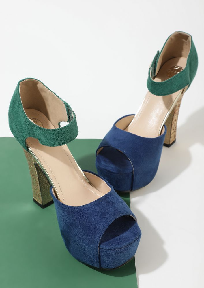 COCKTAIL OF DEETS BLUE HEELED SANDALS