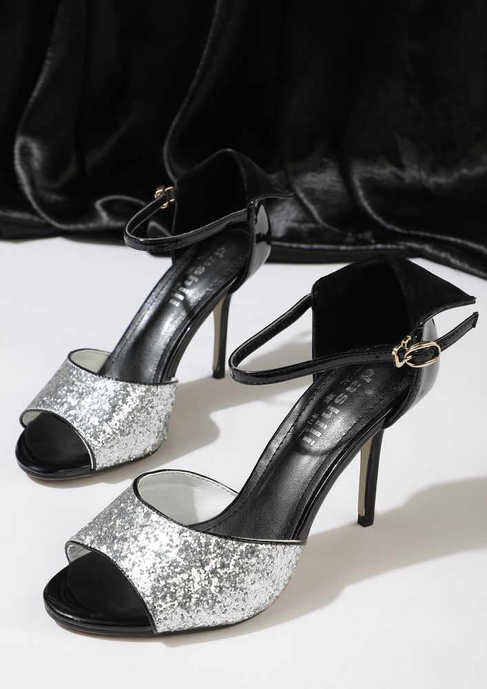 ALL SET TO PARTY SILVER PEEP-TOE SANDALS