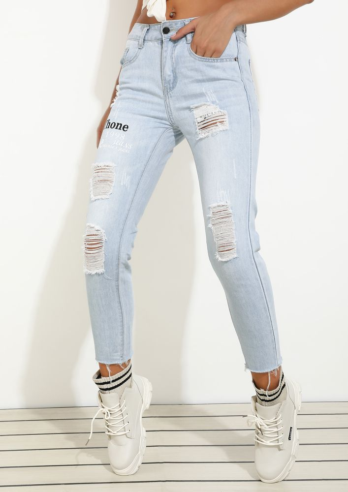 MY PASSION FOR RIPS LIGHT BLUE RIPPED JEANS