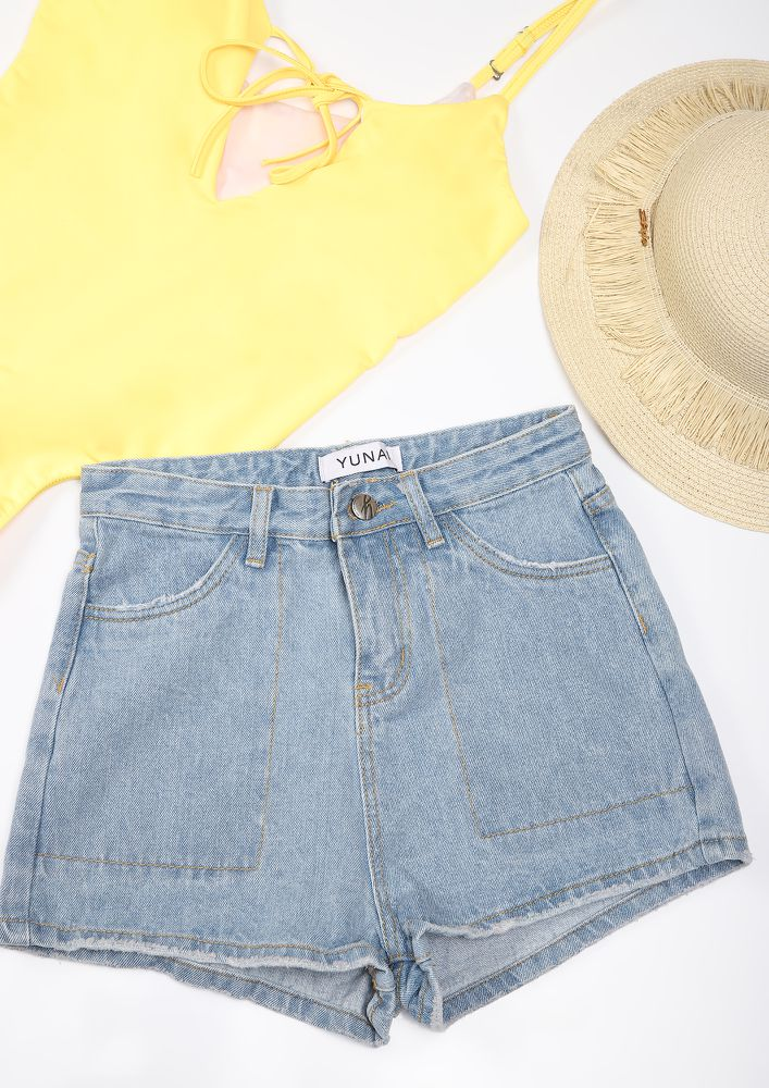 LET LOOSE THE SHORTY BLUE DENIM SHORTS