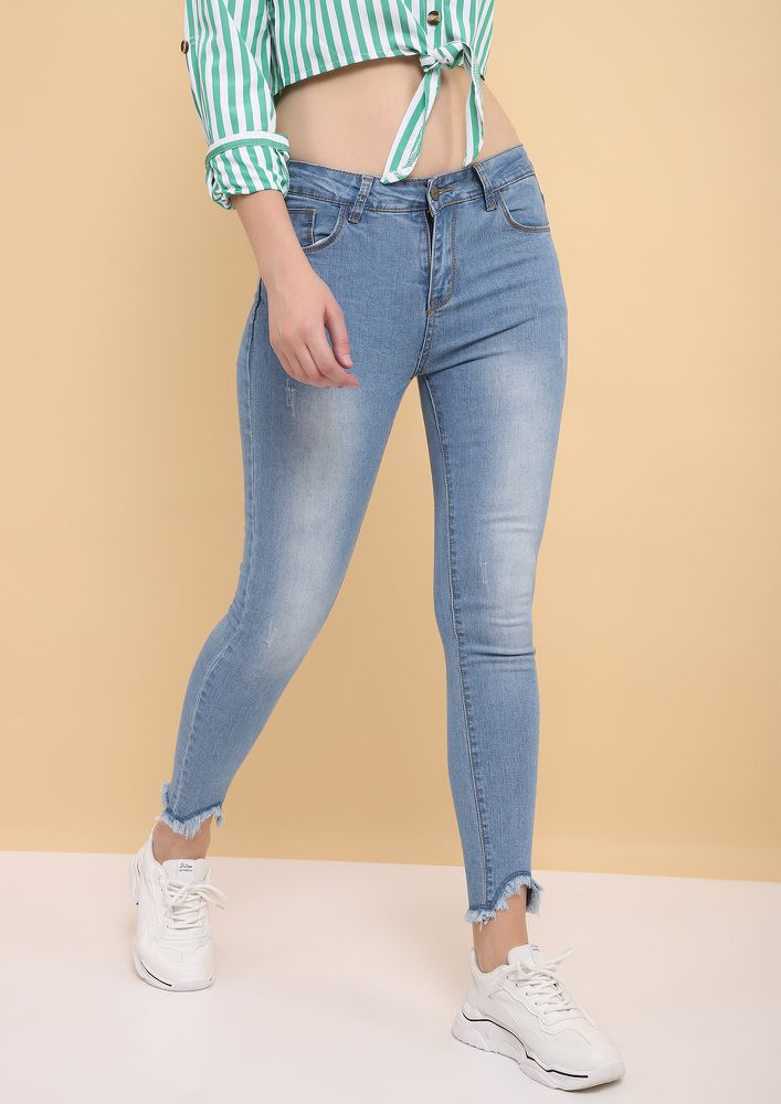 SAY HEY TO FRAY BLUE CROPPED JEANS