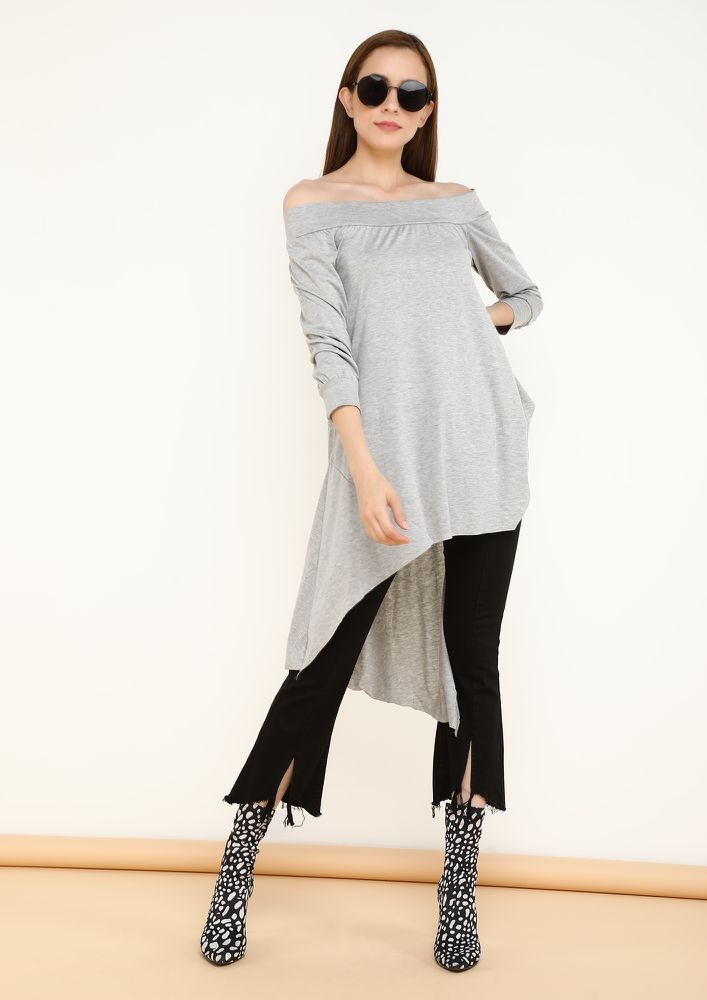 OUT OF THE MOON GREY OFF SHOULDER TOP