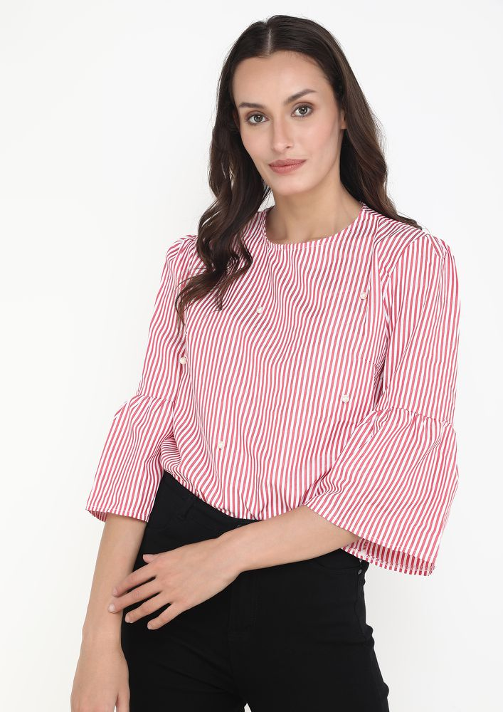 BE WITH ME RED STRIPES BLOUSE