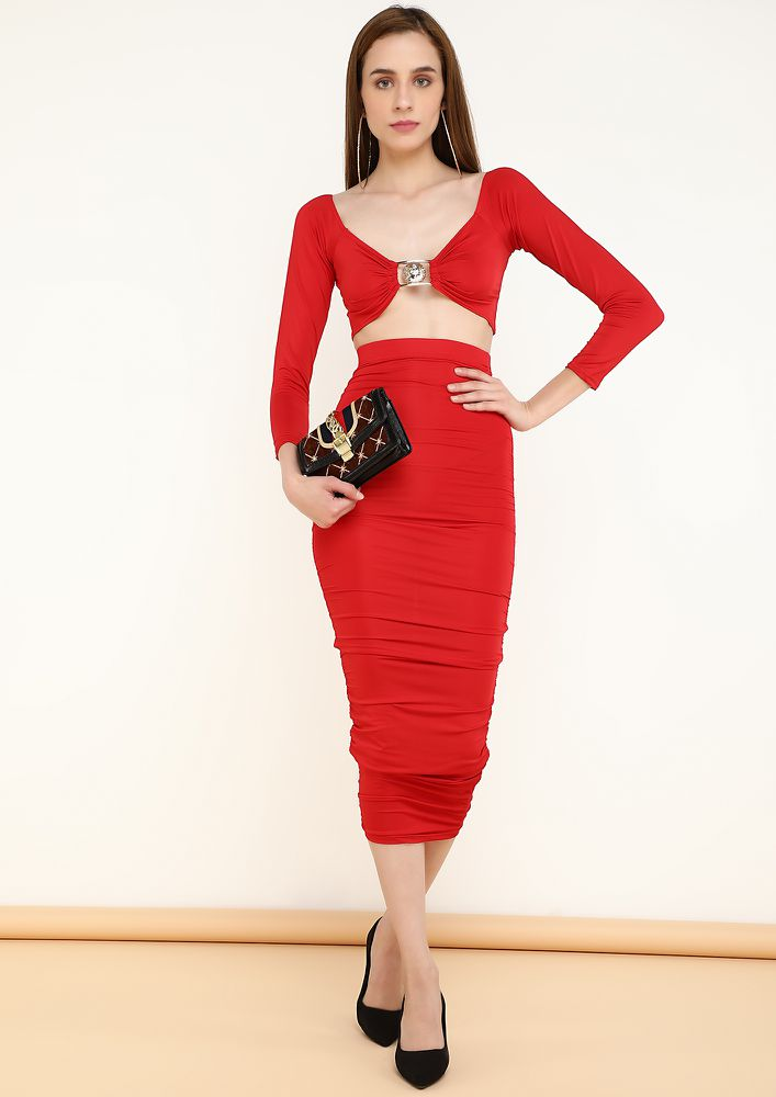 SIP ON THE SEDUCTION RED TWO PIECE