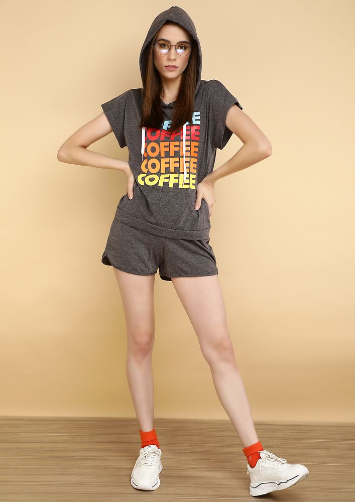 CHASING THE DAY WITH COFFEE GREY T-SHIRT