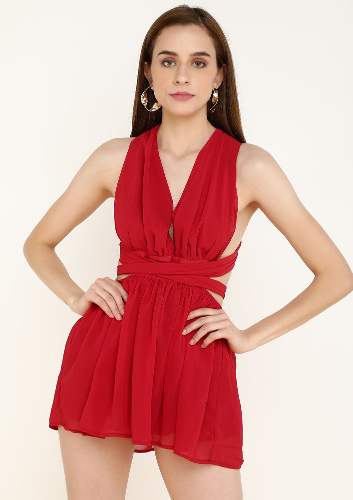 TRACE THE SHOW STOPPER BURGUNDY DRESS