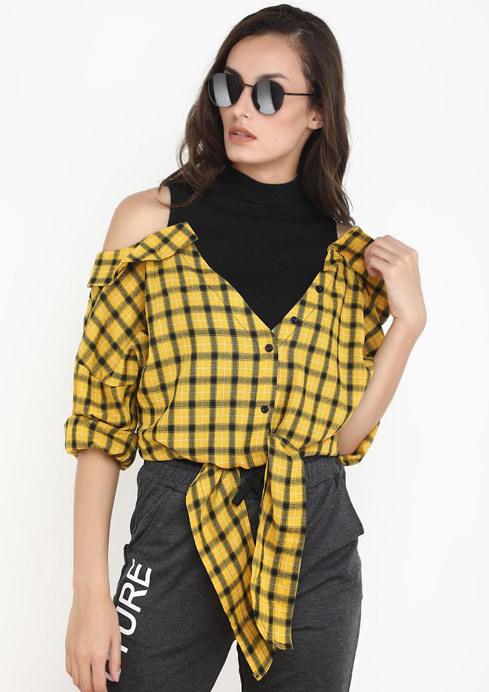 COMBINE THE TRENDS YELLOW RIBBED SHIRT