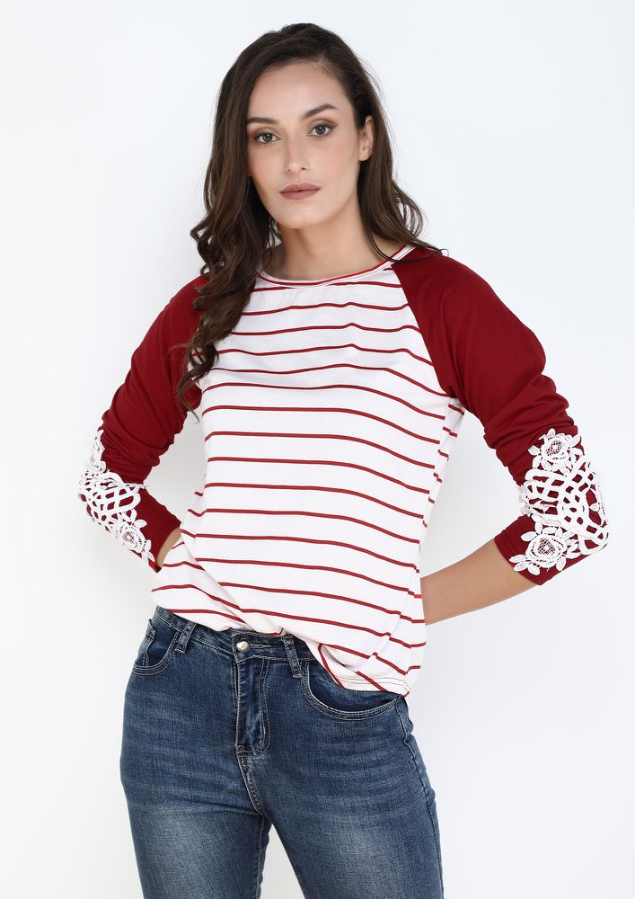 STRIPE AND MESH ON RED TOP