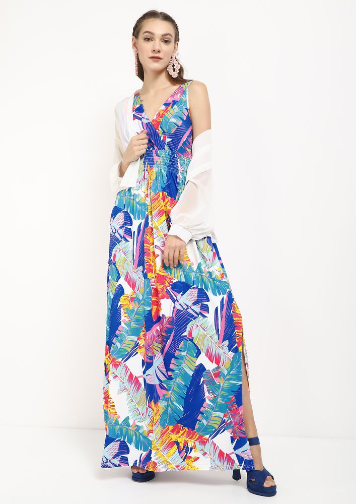 TROPICAL BREEZE AND SUNSHINE?BLUE MAXI DRESS