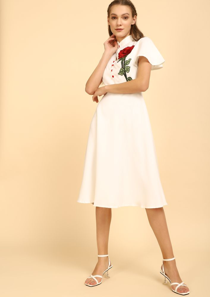 MY ROSE FOR LOVE WHITE MIDI DRESS