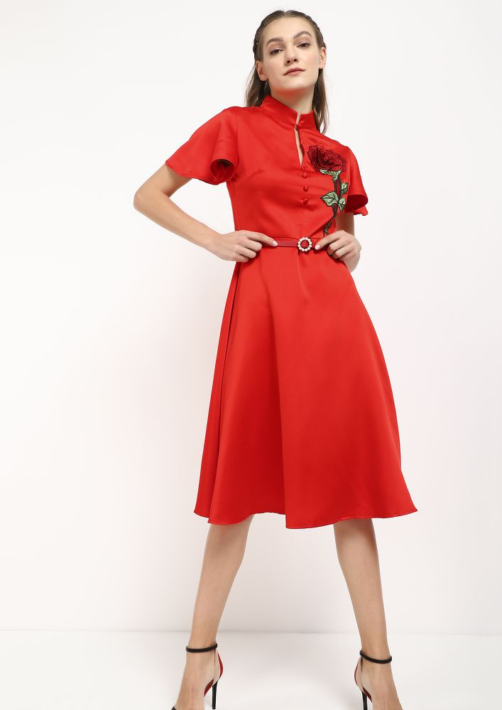 MY ROSE FOR LOVE RED MIDI DRESS