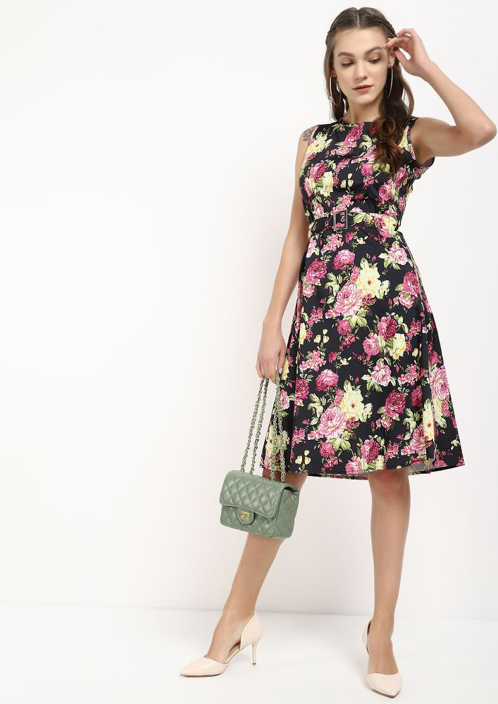 FEEL THE FLOWER BLACK MIDI DRESS