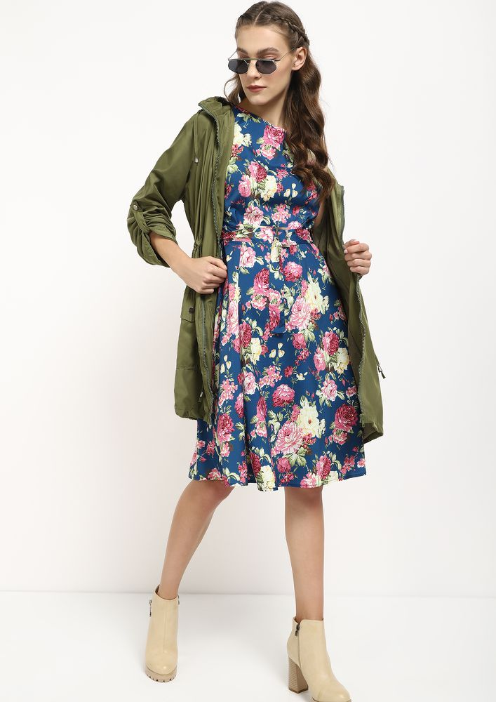FEEL THE FLOWER BLUE MIDI DRESS