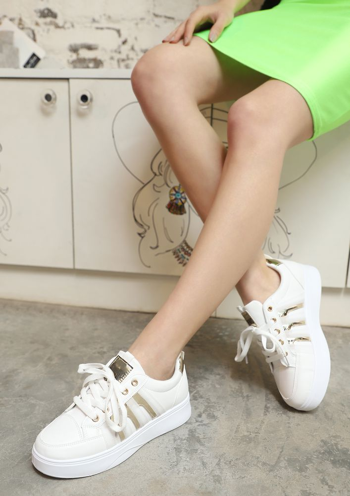 RISE UP GIRL BEIGE FLATFORM SNEAKERS