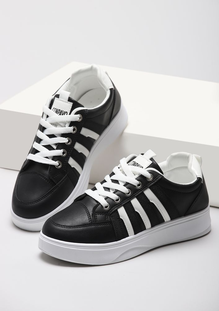 RISE UP GIRL BLACK FLATFORM SNEAKERS