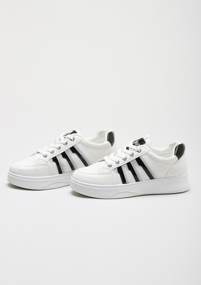 RISE UP GIRL WHITE FLATFORM SNEAKERS