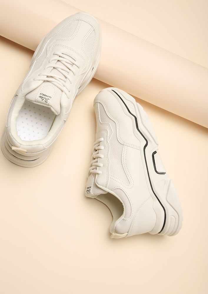ALWAYS BELIEVE IN YOURSELF IVORY SNEAKERS