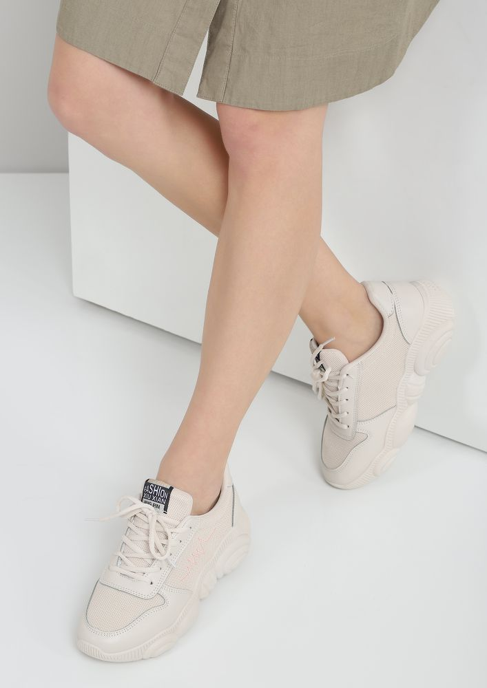 BASIC HAPPENS BEIGE SNEAKERS