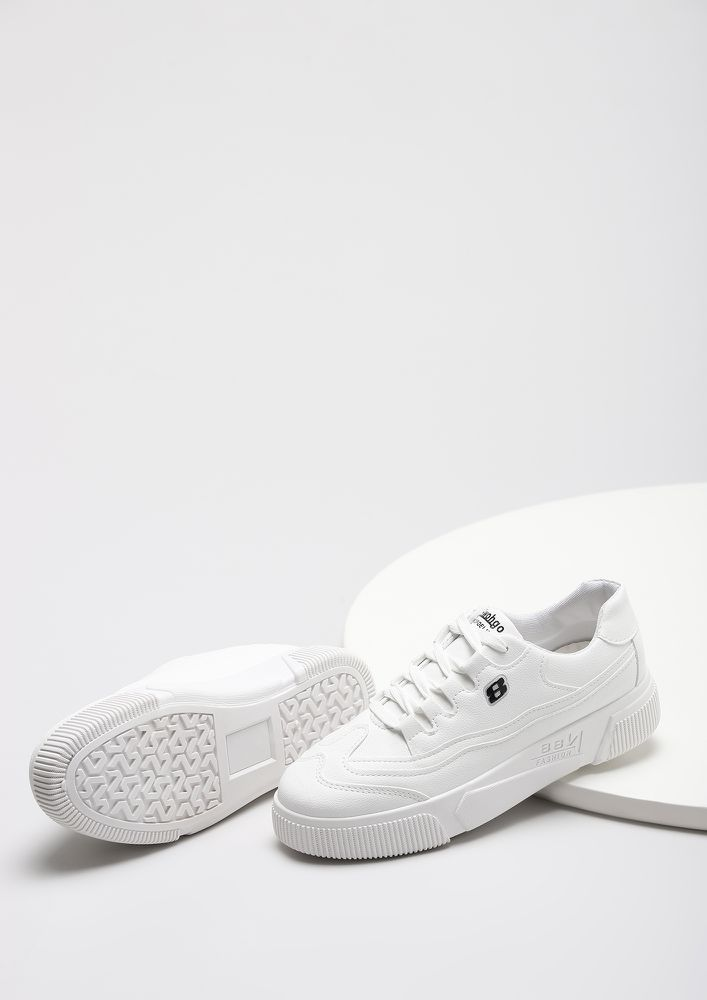 ABOVE THE CURVE WHITE FLATFORM SNEAKERS
