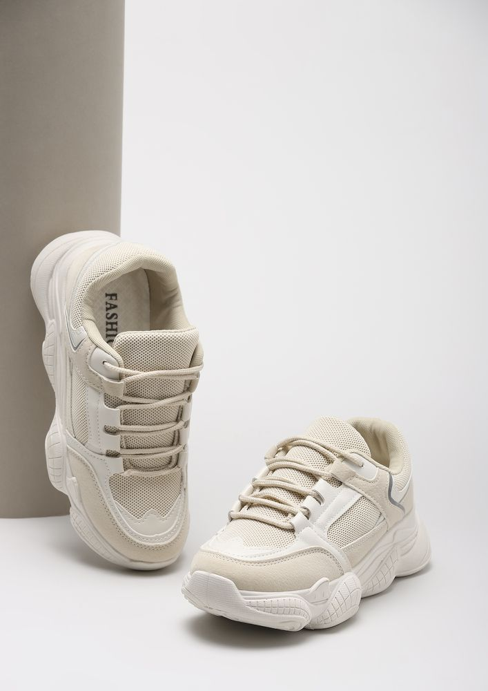 LET'S GET TO WORK BEIGE SNEAKERS
