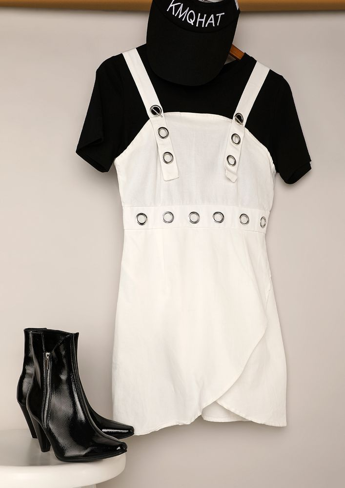 BUTTON ME UP IN A FUN WAY WHITE DRESS