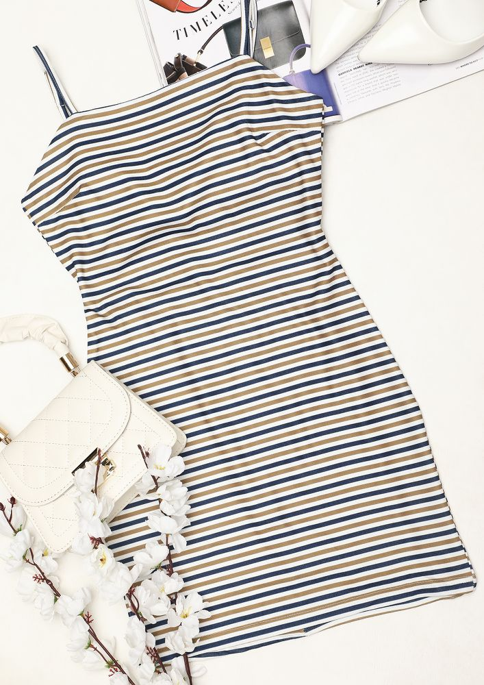 IN THE GOLDEN HOUR OF LINES BLUE BODYCON DRESS